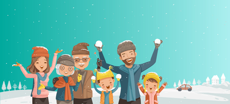 Family of multi generation. Parents,children,grandparents  playing,laughing frost of season.