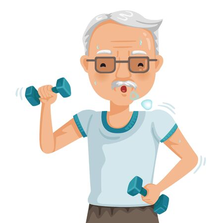 elderly man exercising with dumbbells. Portrait of a asian old man doing exercise. The concept of elderly people health care. Vector cartoon illustrations isolated on white background.