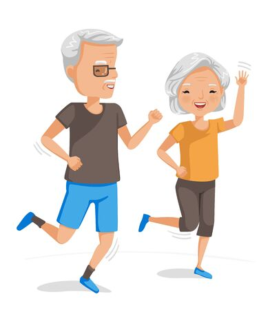 Couple elderly running together. Exercise of senior. Portrait of handsome and beautiful grandmother and grandfather doing health care activities. Vector illustrations isolated on white background.