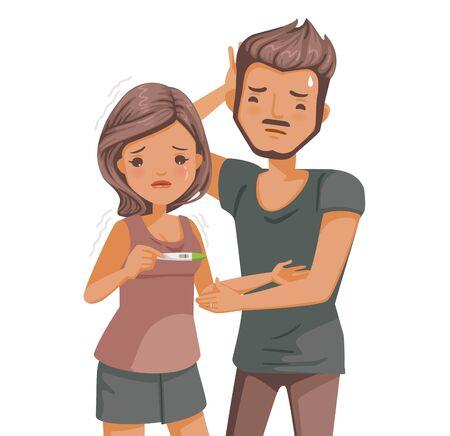 Women have a negative pregnancy test. Illustration