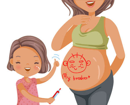 Pregnant woman belly and her daughter happy little girl drawing her brother on her mother's belly, hoping and waiting with love. happy family. Child hugs belly of pregnant mother.Vector illustrations  イラスト・ベクター素材