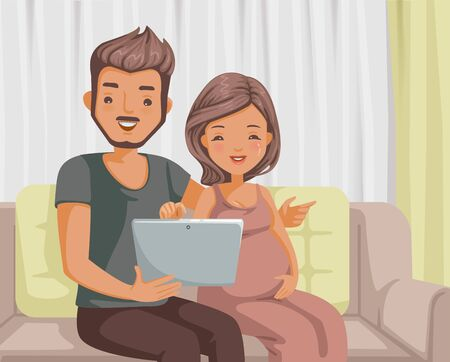 Husband and  wife using computer sitting on sofa at home. Illustration