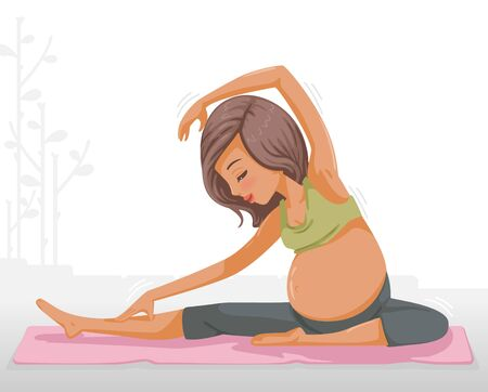 Pregnant women yoga isolated on white