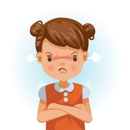 Petite fille en colère. un enfant en chemise rouge exprime sa colère. Excitation et froncement de sourcils. Personnages de dessins animés, illustrations vectorielles, isolés sur fond blanc.