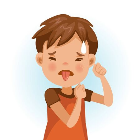 Little boy looking of disgust. asian child expression of disgust with emotions and gestures. refusing food concep. Cartoon character vector illustration isolated on white background. Vektorgrafik