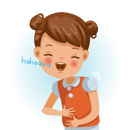Little girl laughing and out loud. girl portrait of a happy children smiling on white background. Emotions and gestures of the cartoon character of the child. Vector illustrations isolated.  イラスト・ベクター素材