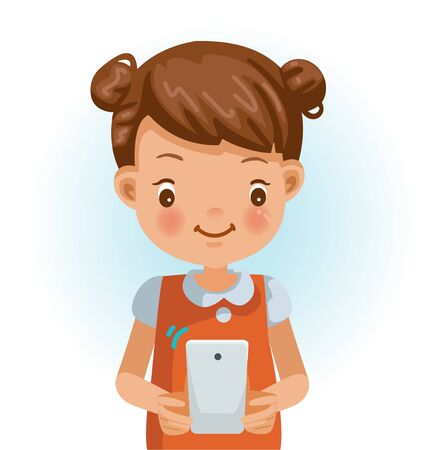 Little girl use cell phone. Cartoon character vector illustration isolated on white background.