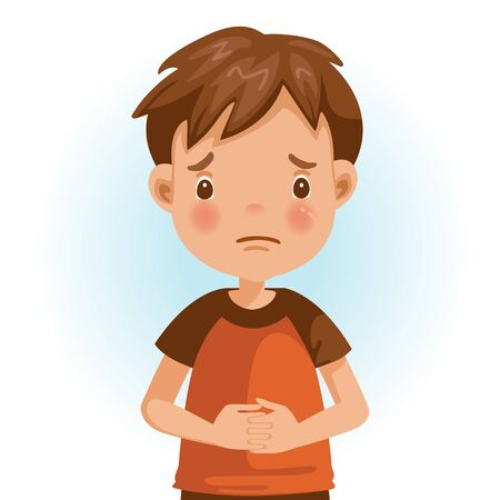 Sad Little boy. The face expresses regret. Child lament standing. Looking straight at you. Vector cartoons and illustrations isolated on white background. Illustration