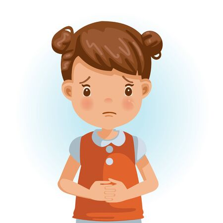 Sad Little Girl. The face expresses regret. Child lament standing. Looking straight at you. Vector cartoons and illustrations isolated on white background. Illustration