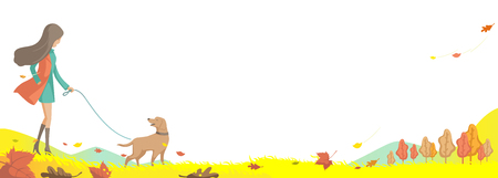 Autumn fall landscape. The wind falling leaves. Girl is walking  with her Labrador dog. The park has beautiful jungle scenery and beautiful colors. meadows and trees turn yellow, orange and red. Illustration