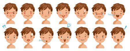 Junge Gesichtsgefühle eingestellt. Kindergesicht mit unterschiedlichen Ausdrücken. Vielzahl von Emotionen Kinder. Männliche Köpfe zeigen eine Vielzahl von Stimmungen und Unterschieden. Schülerporträt-Avatare. Isolierter Vektor.