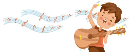 Boy playing guitar. Note on the white background. Billboard or branner design. Gaps fill your data to fill. Concept illustrations for web pages, schools, special classes for children. Vectors  イラスト・ベクター素材