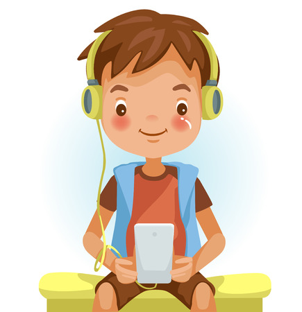 Boy using phone. Listening to music and using phone in home. Happy asian child using cell phone. Study with learning technology. Vector illustrations isolated on white background.