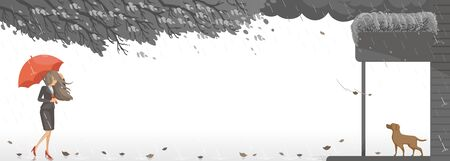 Rain season in the falling rain scenery. Woman holding red umbrella. Dog waiting for the girl to go home again. Monsoon and strong winds. Black cloud in the sky. Leaves and branches are blown. Ilustración de vector
