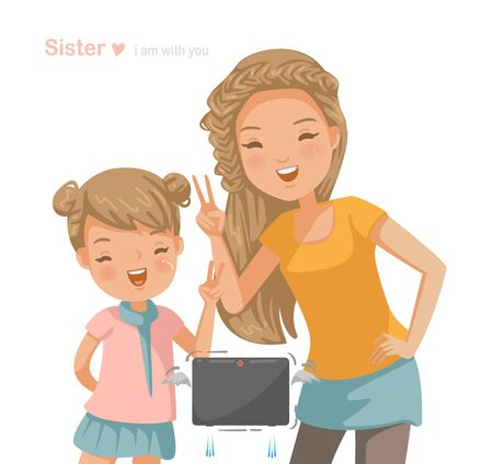 older sister and sisters are shooting in the frame. The little girl and the younger sister together. Brotherhood, Hand sign, Keep trying, smile happily. Vector cartoon illustration isolated on white 向量圖像