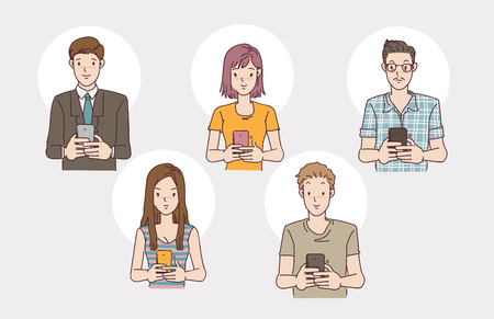 People using the phone set. man and women usersing smartphone. Hand drawn vector design illustrations.  イラスト・ベクター素材