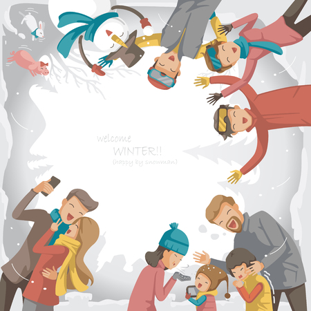 Vacations winter. Design greeting card. Family, friends, lover, snowman. In the atmosphere of winter, spending time on vacation. The department of the lovely group of people. Design greeting card. Ilustrace