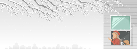 Winter season of city buildings in snow-capped scenery. Girl hands out of the window. Woman and pet her relaxes by winter view with a cup of hot drink. Winter and Christmas holidays concept. vector
