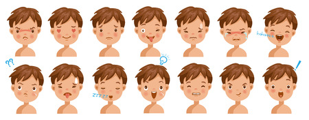 Boy facial emotions set. Child face with different expressions.  Variety of emotions children. Male heads show a variety of moods and differences. Schoolboy portrait avatars. Isolated vector. Illustration