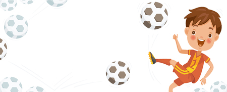 Boy playing football. Monochrome ball that bounced on the white background. Billboard or branner design. Gaps fill your data to fill. Concept illustrations for web pages,schools,Special sports classes