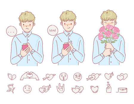 Love man holding flowers hands male. Feelings of fulfillment and disappointment. Using the phone to send messages. icon for the love set. vector design of hand drawn style. cartoon illustrations. Illustration