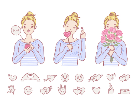 Love women holding flowers hands female. Is sending messages. Hand symbols little heart. icon for the love set. vector design of hand drawn style. cartoon illustrations.
