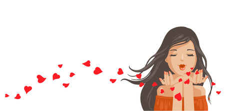 Woman blowing a kiss from her hand. Red heart shaped blown. Portrait of nice positive attractive sweet tender. Beautiful haired girl black hair, sending air kiss, red lips and manicured nail. Vector