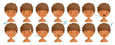 Curly hair face dark skin boy facial emotions set. Child face with different expressions. Variety of emotions children. male heads show a variety of moods, differences. Schoolboy portrait avatars. 일러스트