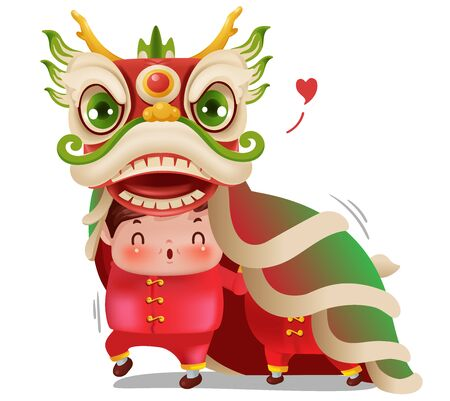 Dragon Dance Chinese New Year. Boy dancing and smiling. Cartoon male personality. Lucky signs. Vector illustration isolated on a white background.