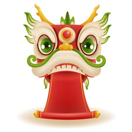 Chinese new year dragon dance head. Holding a red banner decorated with gold. Mascot for lucks year china New Year.  Cartoon vector illustration isolated on a white background.