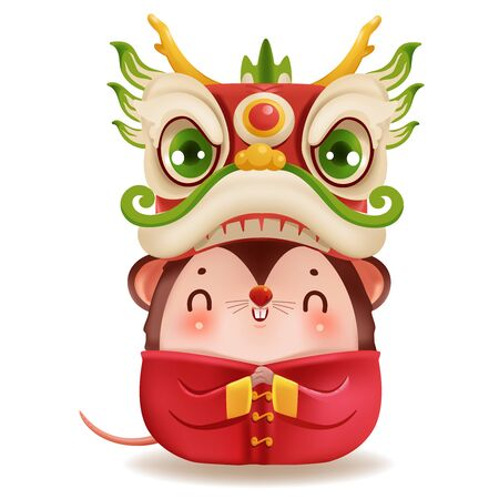 Little rat and dragon dance head. zodiac mice of Animal lucks year 2020 of the rat. Chinese New Year.  Cartoon vector illustration isolated on a white background.