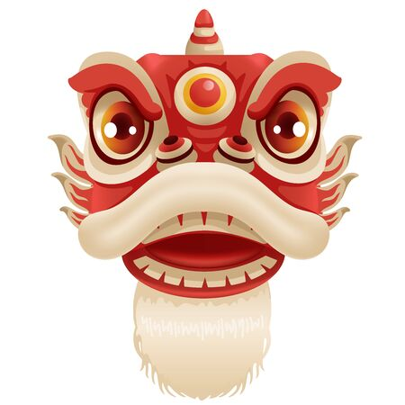 Chinese New Year Lion Dance Head. Mascot for lucks year China  New Year.  Cartoon vector illustration isolated on a white background.