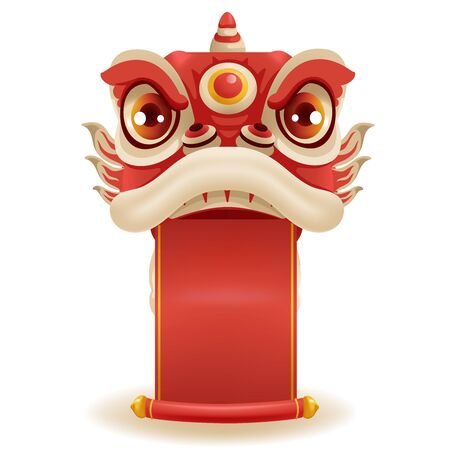 Chinese New Year Lion Dance Head. Holding a red banner decorated with gold. Mascot for lucks year china New Year.  Cartoon vector illustration isolated on a white background. Ilustrace