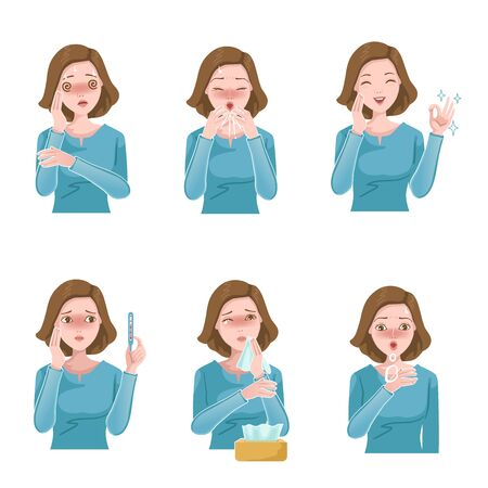 Woman sick set. Patient symptoms. Coughing, sneezing, fever, stuffy nose, headache and wheezing. Influenza symptoms and Covid-19 infections. woman gag with worry gesture. Health care concept. vector Vektorové ilustrace