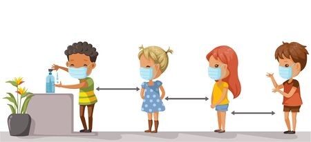 Social distancing. Children at school keep distance away. Boys and girls wearing masks and using alcohol gel. Coronovirus epidemic. protective equipment. Society people to protect from COVID-19.