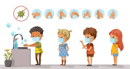Children are washing. perspective of children standing at the wash basin. at school girls and boys waiting to wash. diagram showing how to clean the right hand. steps to wash hands in a circle.