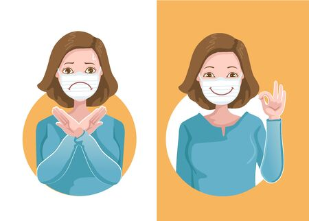 Women wear medical masks to protect against viruses, gestures and different signs. Thumbs up, Thumbs down. Likes and dislikes. Opposite positive feelings and negative feelings. Health care concepts.