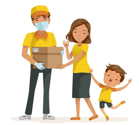 Deliveryman mask package delivery for woman. mother and son happy. New normal concept. Çizim