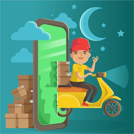 Delivery service on mobile phone concept. Order and deliver products at night. Delivery man ride a motorcycle.