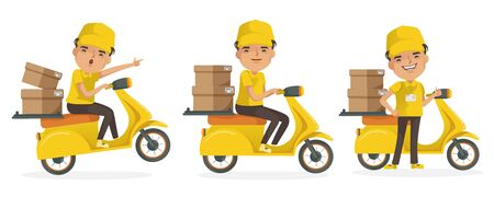 Delivery man vector set. Man holding box or product. Deliveryman in uniform motorcycle. Delivery man driving.  isolated. Çizim