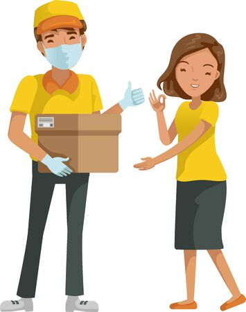 Deliveryman mask package delivery for woman. New normal concept. Foto de archivo - 150319272
