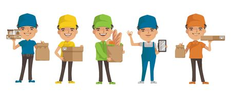 Delivery man vector set. Man holding box or product. Posture of full standing and holding or pointing. Deliveryman isolated. Foto de archivo - 150242024