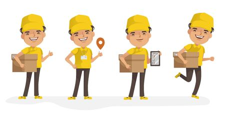 Delivery man vector set. Man holding box or product. Posture of full standing and holding or pointing. Deliveryman isolated. Foto de archivo - 150242492