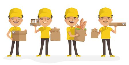 Delivery man vector set. Man holding box or product. Posture of full standing and holding or pointing. Deliveryman uniform isolated. Foto de archivo - 150242449