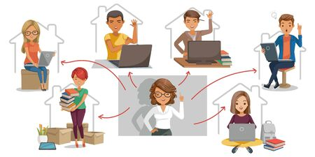 e-Learning student concept. Study at home or study online. Illustration for university. Teachers are playing live video teaching students. Children enjoy learning at home.Technology for Education. Ilustração