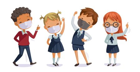 Back to school for new normal concept. Children uniform wearing sanitary masks. Gesture of students and friends at the school. Children in uniform