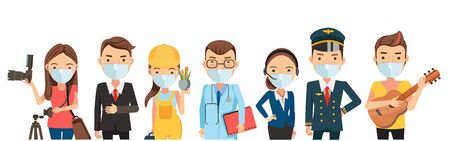 People mask vocation of different professions. Photographer, businessman, gardener, operator, police. Character set team work . New Normal concept. Vector isolated on white background.