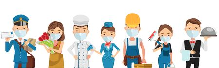 People mask vocation of different professions. Postman, Delivery, Air Hostess, Artisan, Chef, Selling flowers, Painter and Waitress. Character set team work . New Normal concept. Vector isolated Ilustração