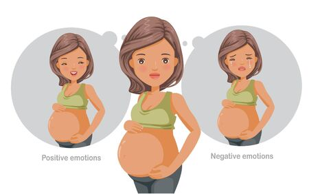 Mental health concept vector for pregnant women. Feelings, emotions, gestures in the opposite state.Mental health problems, normal conditions, stress and relaxation conditions, suffering and happiness