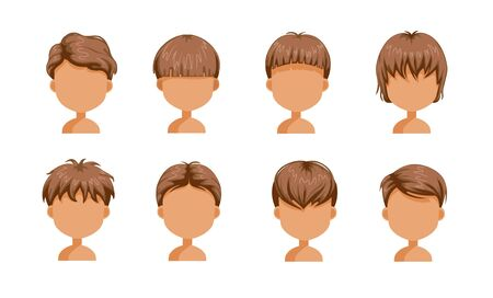 Boy hair set. face of a little boy. cute  hairstyle.Variety  child  modern fashion for assortment. long , short , curly hair. salon hairstyles and trendy haircut of male. vector icon set isolated. Ilustração